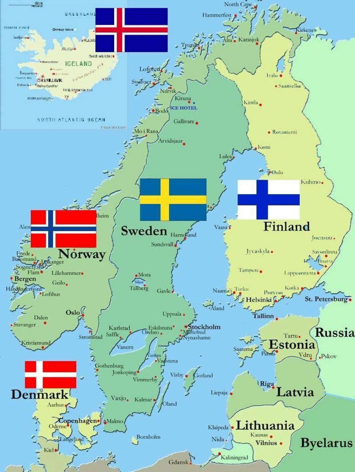 Harta Suedia și țările Din Jur Suedia Surround Harta țări