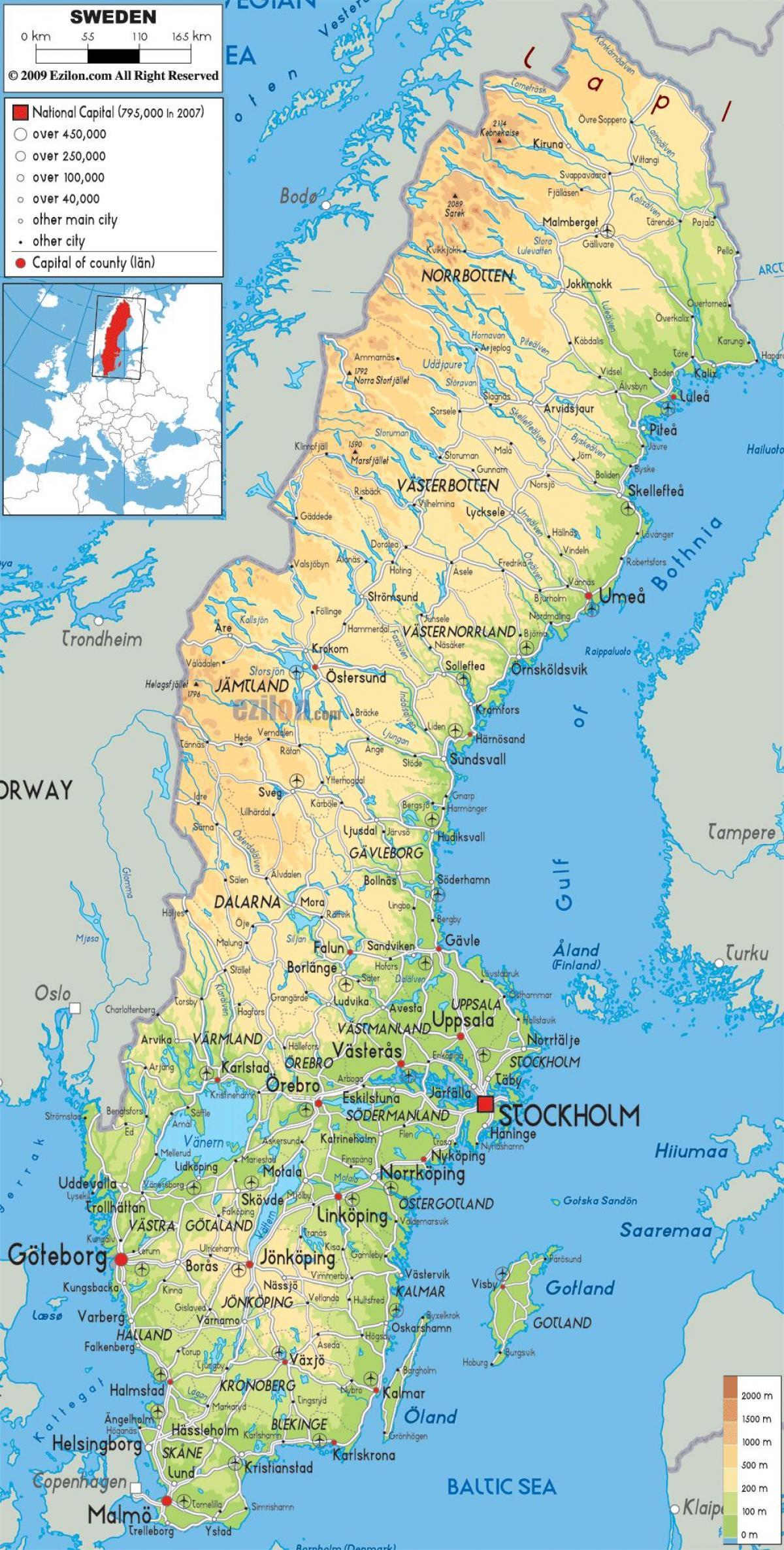 Suedia Geografie Harta Harta Geografică A Suediei Europa De