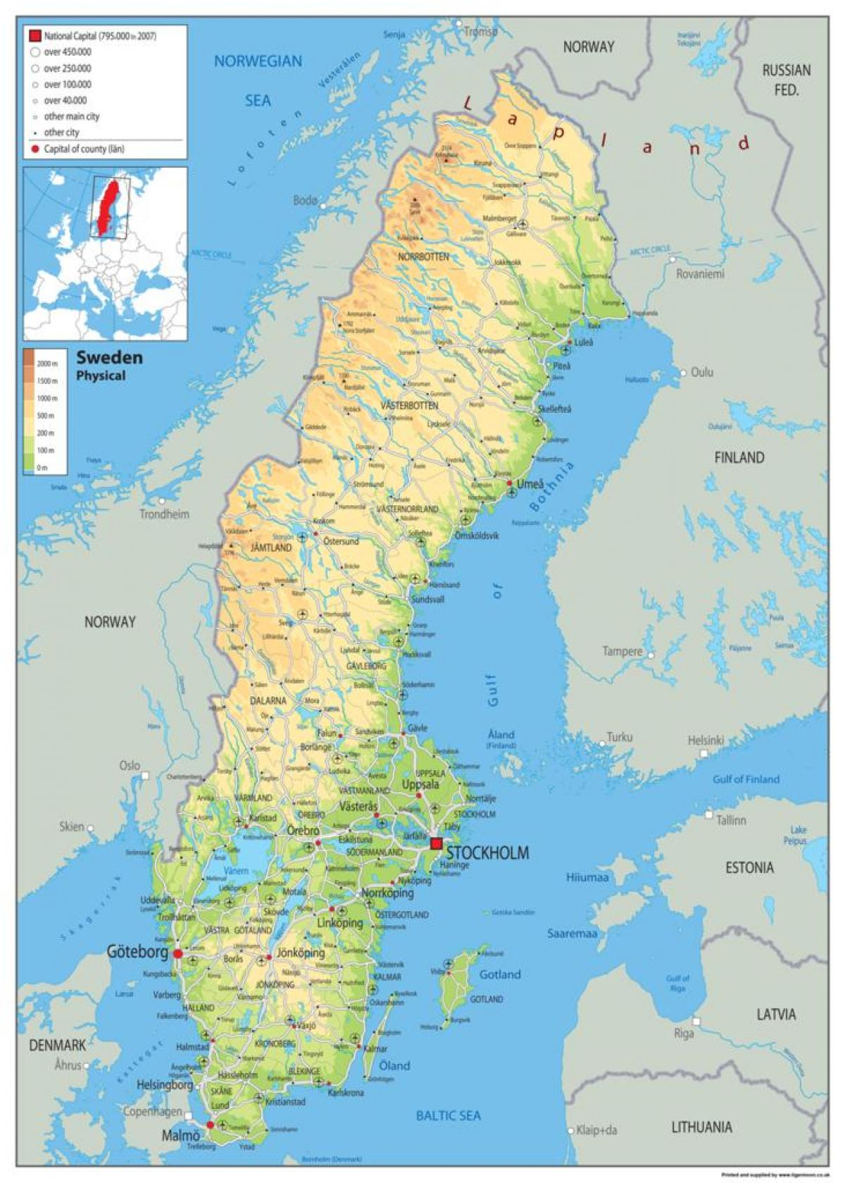 Suedia Fizice Hartă Harta Fizică A Suediei Europa De Nord Europa