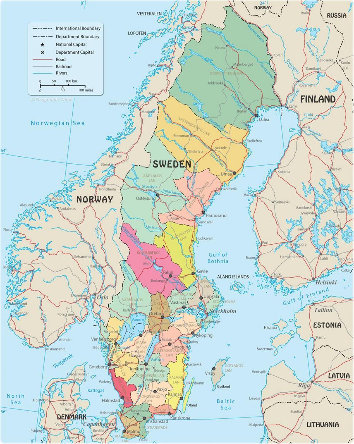 Suedia Politice Hartă Harta Politică A Suediei Europa De Nord